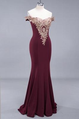 Amazing Off-The-Shoulder Floor-Length Elegant Mermaid Appliques Zipper Prom Dress UK_4