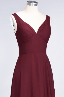 Sexy A-line Flowy Alluring V-neck Straps Sleeveless Ruffles Floor-Length Bridesmaid Dress UK UK with Open Back_6