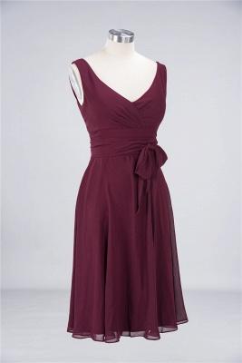 Sexy A-line Flowy Straps Alluring V-neck Sleeveless Ruffles Short length Bridesmaid Dress UK UK with Bow Sash_2