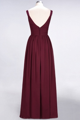 Sexy A-line Flowy Straps Alluring V-neck Sleeveless Backless Floor-Length Bridesmaid Dress UK UK with Ruffles_3