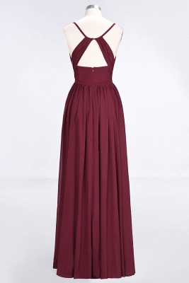 Sexy A-line Flowy Spaghetti-Straps Alluring V-neck Sleeveless Floor-Length Bridesmaid Dress UK UK with Ruffles_2