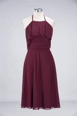 Sexy A-line Flowy Halter Sleeveless Short length Bridesmaid Dress UK UK with Ruffles_1