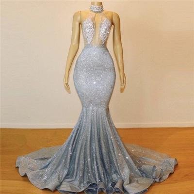 Elegant Hot Elegant Mermaid Halter Sleeveless Sweep Train Long Prom Dress UK UK_4