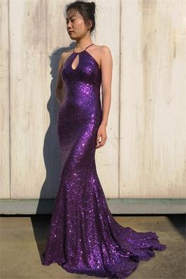 Gorgeous Purple Halter Sleeveless Elegant Mermaid Sweep Train Prom Dress UK UK_3