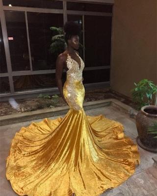 Sexy V-Neck Sleeveless Elegant Mermaid Appliques Yellow Prom Dress UK UK_1