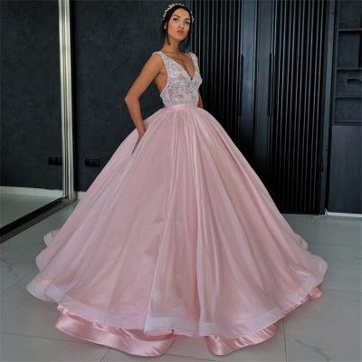 Amazing Appliques Alluring V-neck Sleeveless Prom Dress UK_3