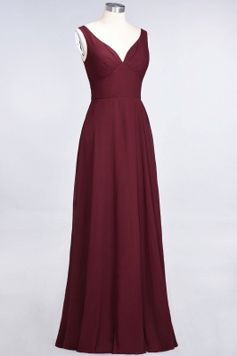 Sexy A-line Flowy Alluring V-neck Straps Sleeveless Ruffles Floor-Length Bridesmaid Dress UK UK with Open Back_4