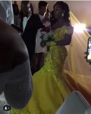 Off The Shoulder Yellow Sparkling Prom Dress UKes UK UK Elegant Mermaid Beads Sequins Evening Dress UK_2