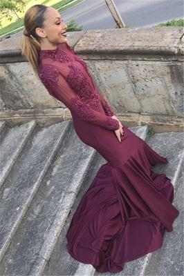 Different Long Sleeves High Neck Elegant Mermaid Prom Dress UK UK_2