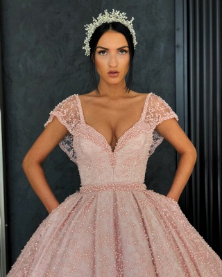 Beading Alluring V-neck Cap-Sleeves Prom Dress UK_5