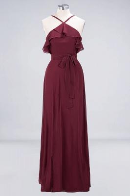 Sexy A-line Flowy Spaghetti-Straps Sleeveless Ruffles Floor-Length Bridesmaid Dress UK UK with Bow Sash_1