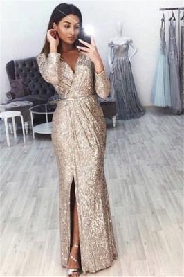 Elegant Mermaid Alluring V-neck Long-Sleeves Front-Slipt Long Prom Dress UK_1