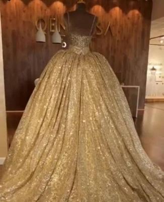 Luxurious Spaghetti Straps SleevelssBall Gown Crystals Prom Dress UKes UK UK_3
