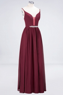 Sexy A-line Flowy Appliques Spaghetti-Straps Deep-Alluring V-neck Sleeveless Floor-Length Bridesmaid Dress UK UK with Ruffles_3