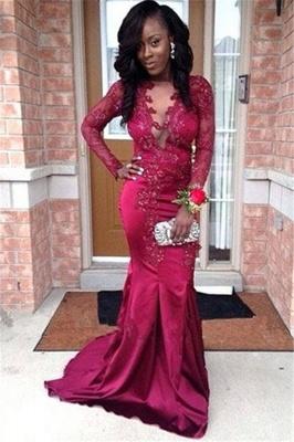 Stunning V-Neck Appliques Long Sleeves Elegant Mermaid Prom Dress UK UK_1