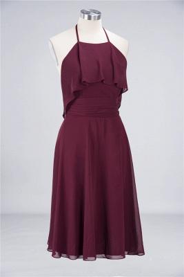 Sexy A-line Flowy Halter Sleeveless Short length Bridesmaid Dress UK UK with Ruffles_3