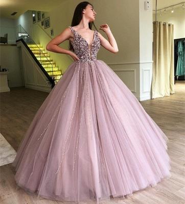 Tulle Beading Deep-Alluring V-neck Straps Sleeveless Prom Dress UK_4