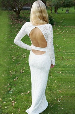 Sexy Scoop Neck Long Sleeves Appliques Sweep Train Prom Dress UK UK_2