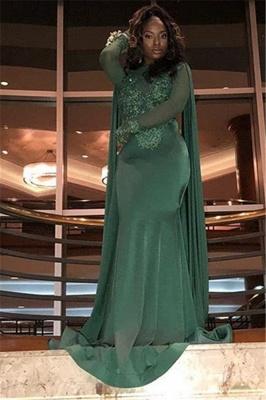 Sexy Scoop Neck Long Sleeves Appliques Elegant Mermaid Prom Dress UK UK_5