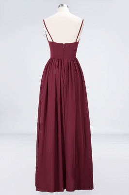 Sexy A-line Flowy Appliques Spaghetti-Straps Deep-Alluring V-neck Sleeveless Floor-Length Bridesmaid Dress UK UK with Ruffles_2