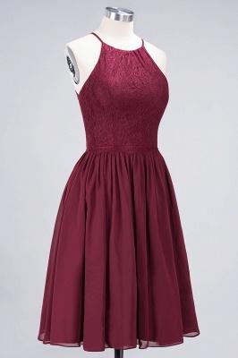 A-line Light Chiffon Lace Jewel Sleeveless Knee-Length Bridesmaid Dress UKes UK UK with Ruffles_3