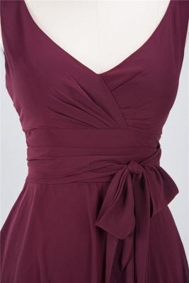 Sexy A-line Flowy Straps Alluring V-neck Sleeveless Ruffles Short length Bridesmaid Dress UK UK with Bow Sash_3