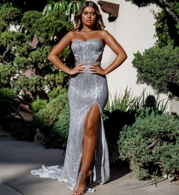 Unique Cute strapless Sleeveless Elegant Mermaid Front Split Prom Dress UK UK_5