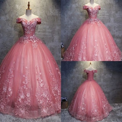 Sexy Off-The-Shoulder Ball gown Appliques Sleveless Floor-Length Lace-up Prom Dress UKes UK UK_1
