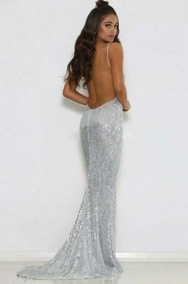 Sparkling Elegant Mermaid Sequins Spaghetti-Straps Sleeveless Long Prom Dress UK_3
