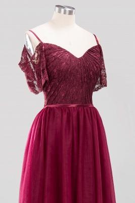 A-Line Light Chiffon Lace Cute strapless Spaghetti Straps Short-Sleeves Sweep Train Bridesmaid Dress UKes UK UK with Ruffles_5