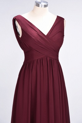 Sexy A-line Flowy Straps Alluring V-neck Sleeveless Floor-Length Bridesmaid Dress UK UK with Ruffles_5