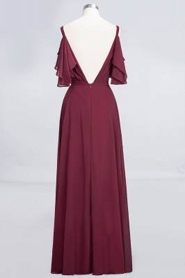 Sexy A-line Flowy Alluring V-neck Straps Sleeveless Ruffles Floor-Length Bridesmaid Dress UK UK with Pearls_2