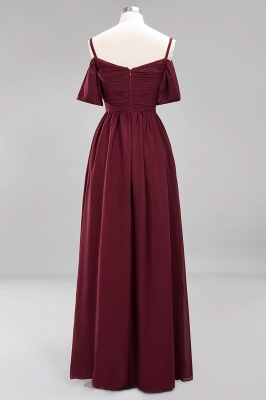 A-Line Light Chiffon V-Neck Spaghetti Straps Short-Sleeves Sweep Train Bridesmaid Dress UKes UK UK with Ruffles_9
