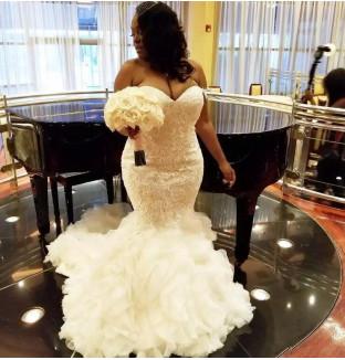 Unique Sweetheart Organza Appliques Sleeveless Sexy Mermaid Wedding Dress_1