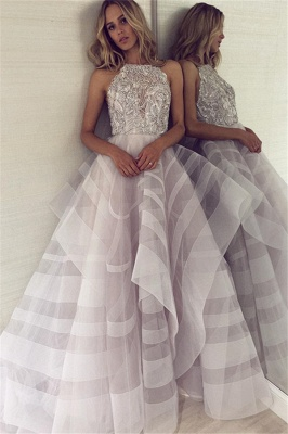 Sexy A-line Appliques Halter Sleeveless Long Length Prom Dress UK_1
