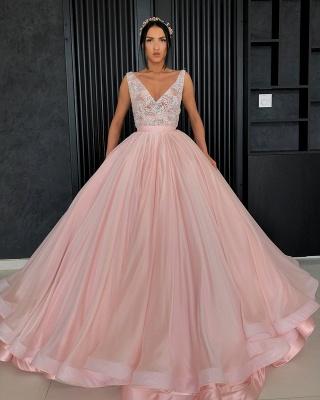 Amazing Appliques Alluring V-neck Sleeveless Prom Dress UK_4