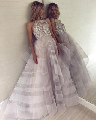 Sexy A-line Appliques Halter Sleeveless Long Length Prom Dress UK_4