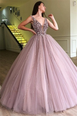 Tulle Beading Deep-Alluring V-neck Straps Sleeveless Prom Dress UK_1