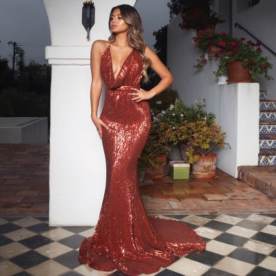 Elegant Hot V-Neck Halter Open Back Sleeveless Elegant Mermaid Prom Dress UK UK_5