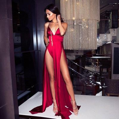Elegant Hot V-Neck Spaghetti Straps A-Line Front Split Prom Dress UK UK_1
