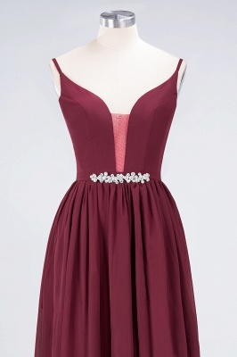Sexy A-line Flowy Appliques Spaghetti-Straps Deep-Alluring V-neck Sleeveless Floor-Length Bridesmaid Dress UK UK with Ruffles_4