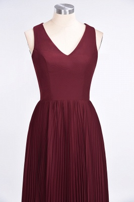 Sexy A-line Satin Flowy Alluring V-neck Sleeveless Floor-Length Bridesmaid Dress UK UK with Ruffles_4