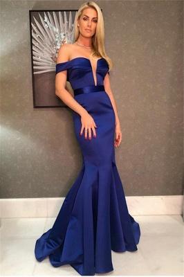 Elegant Elegant Mermaid Off-the-Shoulder Deep-Alluring V-neck Long Prom Dress UK_1
