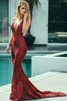 Modern Spaghetti Straps Sleeveless V-Neck Sequins Elegant Mermaid Prom Dress UK UK_4