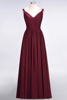 Sexy A-line Flowy Straps Alluring V-neck Sleeveless Backless Floor-Length Bridesmaid Dress UK UK with Ruffles_2