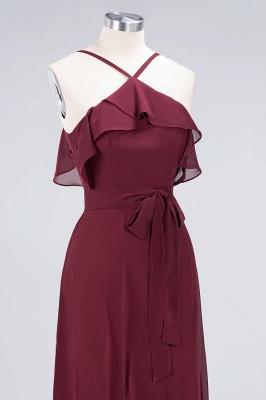Sexy A-line Flowy Spaghetti-Straps Sleeveless Ruffles Floor-Length Bridesmaid Dress UK UK with Bow Sash_5