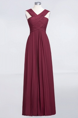 Sexy A-line Flowy Alluring V-neck Straps Sleeveless Floor-Length Bridesmaid Dress UK UK with Ruffles_1