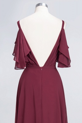 Sexy A-line Flowy Alluring V-neck Straps Sleeveless Ruffles Floor-Length Bridesmaid Dress UK UK with Pearls_6