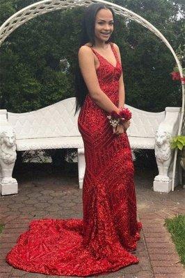 Modern Spaghetti Straps Sleeveless V-Neck Sequins Elegant Mermaid Prom Dress UK UK_3