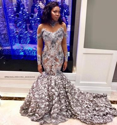 Elegant Mermaid Off-the-Shoulder Long-Sleeves Long Prom Dress UK with Flower_3